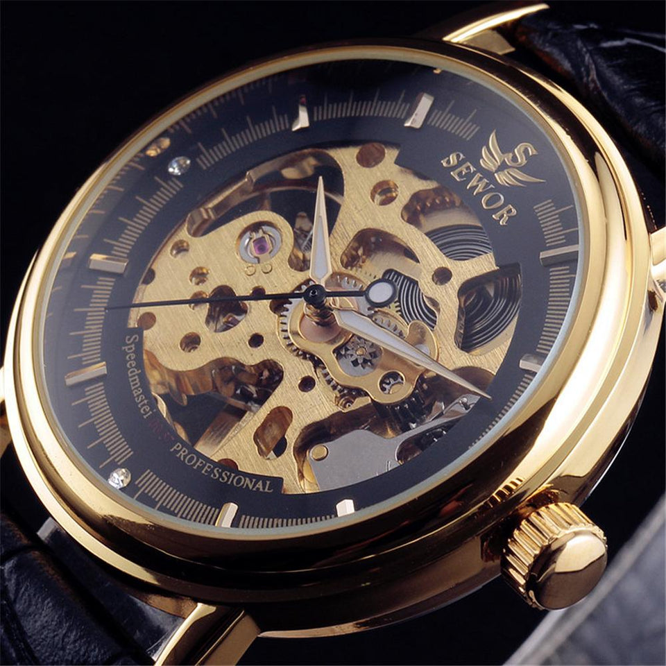 Luxury  Carving Skeleton AVIATOR Watch