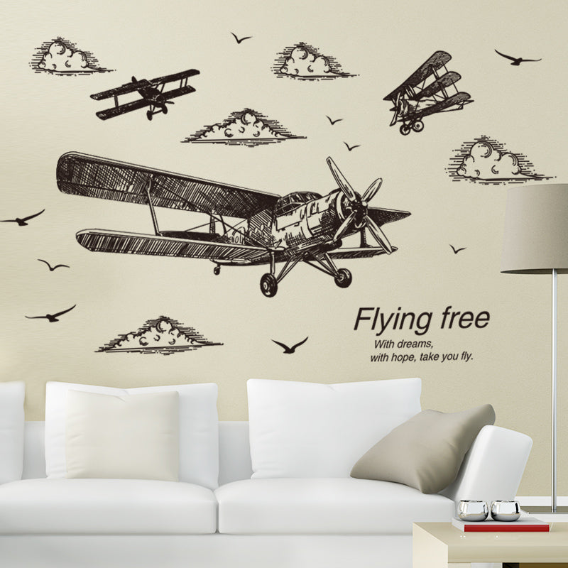Airplane Wall Sticker Vinyl Adhesive