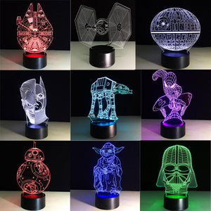 Beautiful classic 3D Lamp LED  7 Colors Changing Mood Lamp