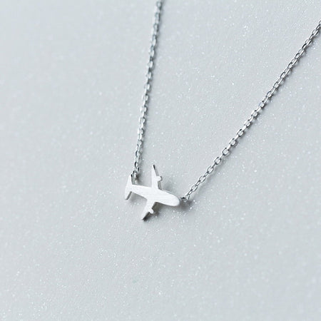 Silver Cute Airplane Pendant