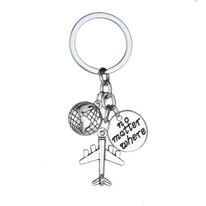 Globe Earth Airplane Keychain