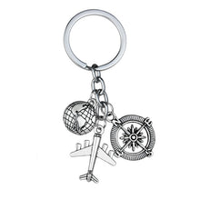 Load image into Gallery viewer, Globe Earth Airplane Keychain