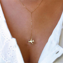 Load image into Gallery viewer, Rose Gold Airplane Pendant Necklace Chai For Women
