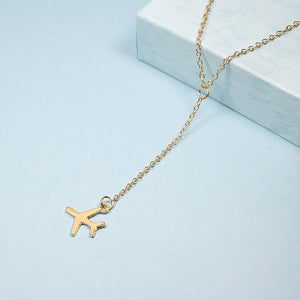 Rose Gold Airplane Pendant Necklace Chai For Women