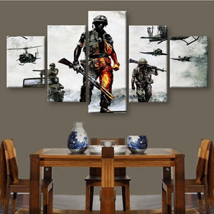 HD Modern Canvas Wall Art Frame Army Soldier In Battle