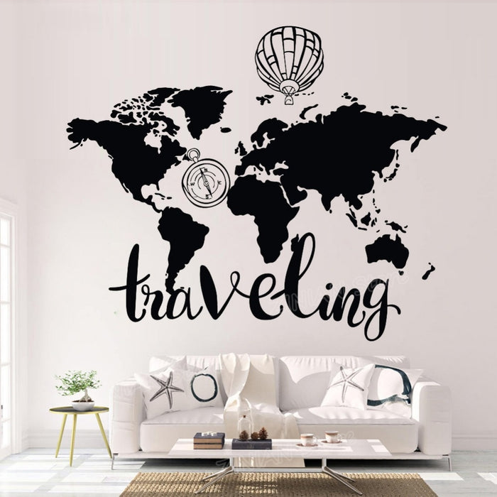 World Map Wall Sticker Vinyl Adhesive