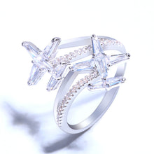 Load image into Gallery viewer, OCESRIO Cubic Zirconia Plane Airplane Ring Women Cute Silver Zircon Adjustable Finger Rings for Women Girls Jewelry rig-f09