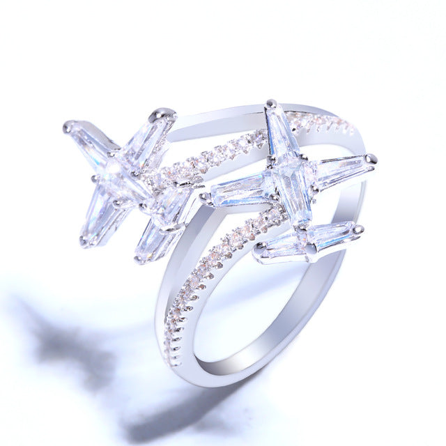 OCESRIO Cubic Zirconia Plane Airplane Ring Women Cute Silver Zircon Adjustable Finger Rings for Women Girls Jewelry rig-f09
