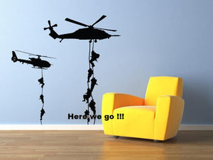 Military Helicopter Wall Stickers Troopers Rappelling