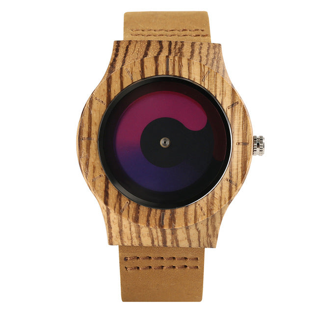 Aviator Novel Case Wrist Watch  Nature Bamboo Wood