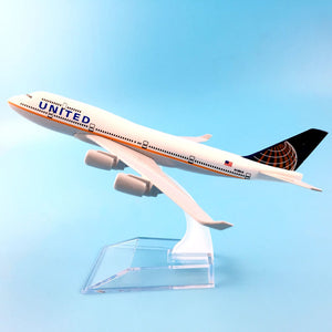 Kids Toys 16cm Alloy Metal American Air United Airlines Boeing 747 B747 400 Airways Plane Model Aircraft Airplane Model w Stand
