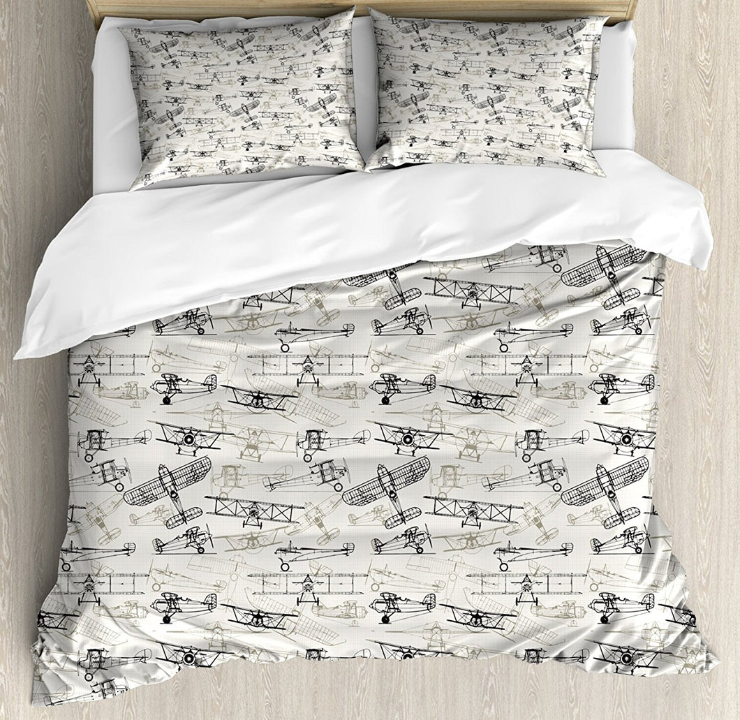 Airplane Duvet Cover Set Old Fashioned Airplanes