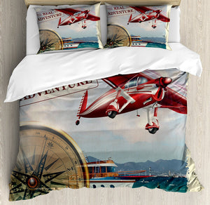 Duvet Cover of the Red Airplane Journey