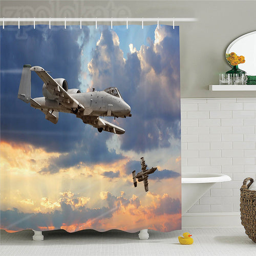 Military Force Combat Airplane Shower Curtain