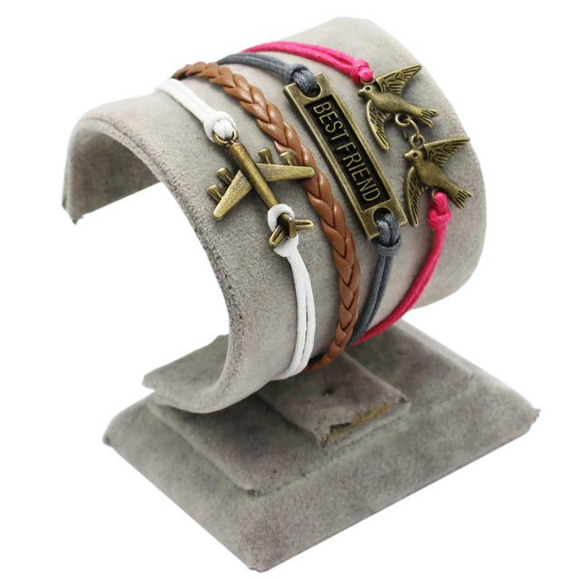 Casual Silver Plane Leather Bracelets