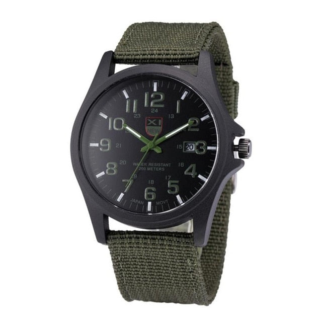 XINEW Band Hot Sell Outdoor Mens Date Stainless Steel Military Sports Analog Quartz Army Wrist Watch Dropshipping 0803