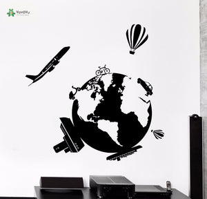 Airplane yacht hot air balloon transport Earth World Travel Map  Stickers