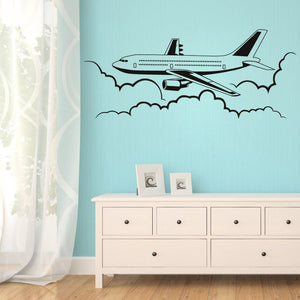 Airplane Flying In The Sky Art Wall Stickers