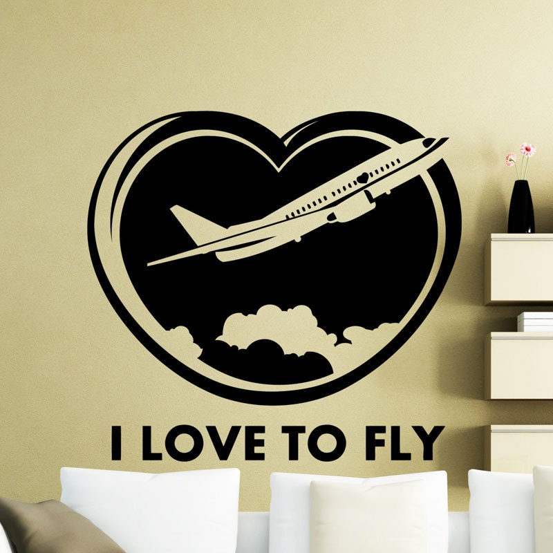 I Love To Fly Aircraft Airplane Wall Sticker