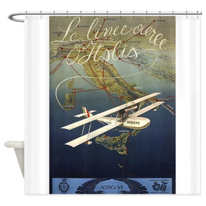 Italy, Airplane, Travel, Vintage Poster Shower Curtain