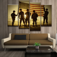 HD Modern Canvas Wall Art Frame Army Soldier with Sunset Raise US Flag