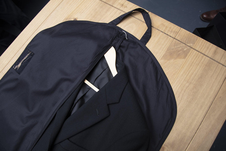 Luxury Black Travel Suit Carrier Cotton Twill Covers