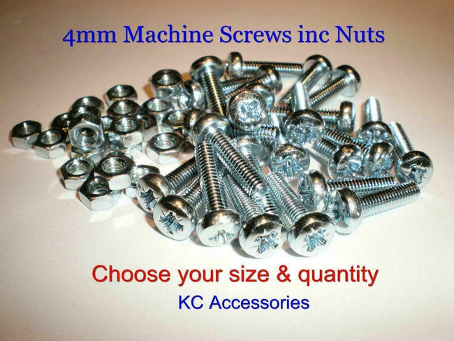 4mm M4 Machine Screws/Bolts and Nuts Pozidrive / Pozi Pan Head inc NUTS