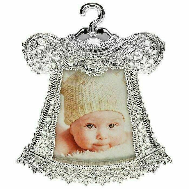 Picture Frame Baby Silver Ornate Lace Dress Free Standing Ideal Gift 50633