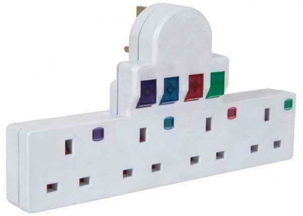 4 Way Plug Adaptor Multi Socket Extension Plug Surge & Spike Protection On Off