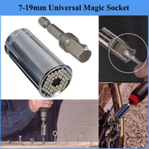 Universal 7-19mm Gator Grip Style Socket Adapter with Drill Tool Adapter