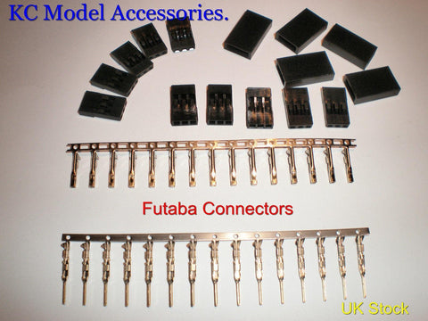 Futaba Set Male & Female Connectors 3 Pin Servo or Battery Connectors 5 Pairs UK