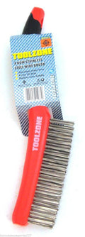4 Row Stainless Steel Wire Brush  Workshop Garage Welding Rust Dirt Paint