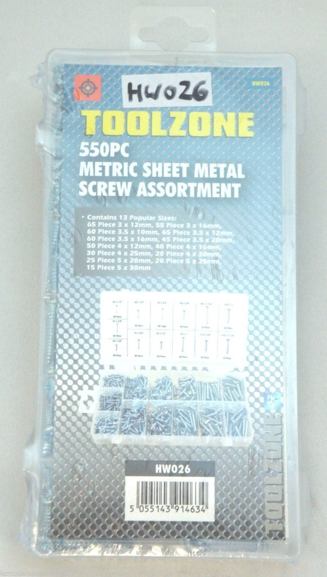 550pc Sheet Metal Metric Screws Self Tapping Phillips Head Assortment 3mm-5mm