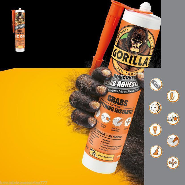 Gorilla Grab Adhesive Glue Heavy Duty Grabs Virtually Anything Instantly 290ML