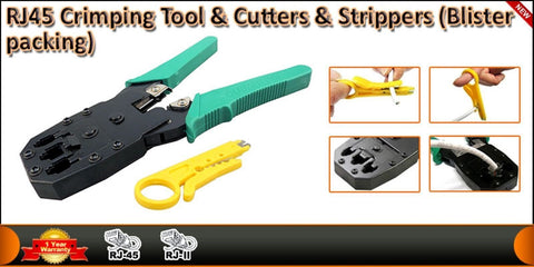 RJ45 Cat5e Cat6e Network Ethernet Cable Crimping Tool + Stripper