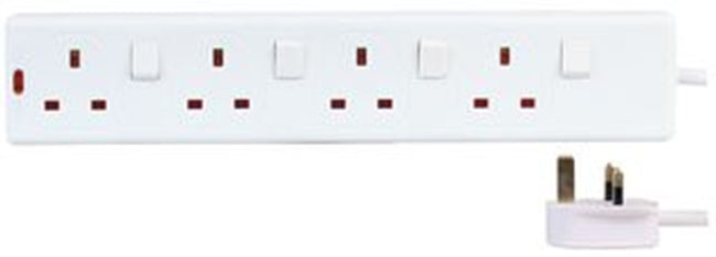 4 Way Gang 2 Metre Extension Lead With Individual Switch 13A White Plug Sockets