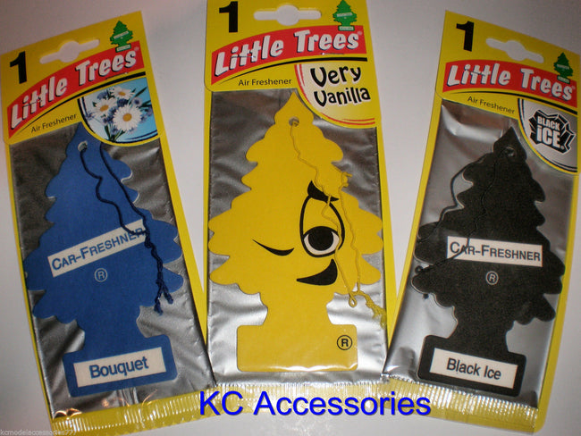 3 x Magic Tree Air Freshener Black Ice Very Vanilla Bouquet Car Home Taxi Office
