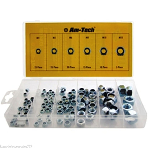 100 PCS Hexagon Nyloc Locking Nut Set M4~M12 Assortment High Vibration.