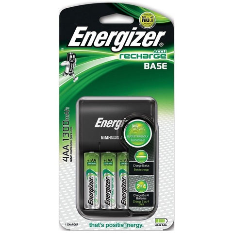Energizer Base AA/AAA Charger + 4x AA 1300 mAh Rechargeable Batteries New Model.