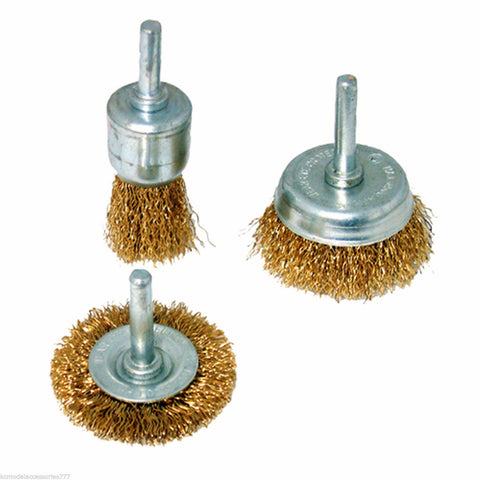 Wire Wheel & Cup Brassed Steel Wire Brush Set x 3pcs 6mm Shank Power Tools