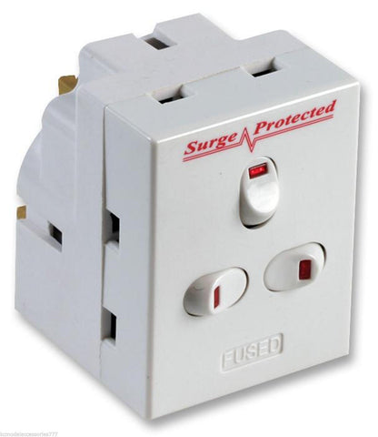 3 Way Switched Adapter Surge Protected Plug 13AMP UK Neon Multi Plug