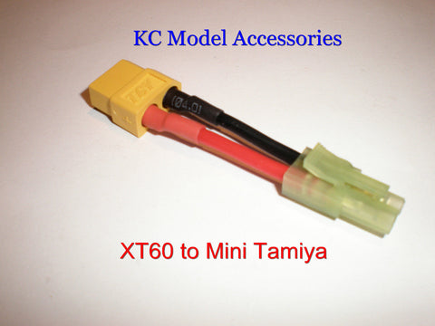 XT60 Female To Mini Tamiya Male Charge Battery Lead Adapter Airsoft Drone
