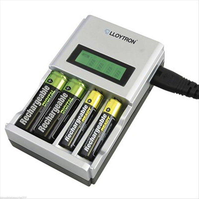 1 Hour Fast Mains Battery Charger LCD for 4 AA or AAA NiMH & Ni-CD Lloytron