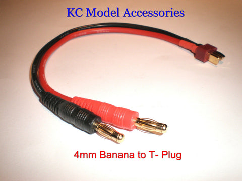 Deans T-Plug to 4mm Banana Plug Battery Charger Cable 14AWG