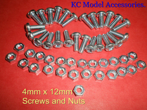 4mm x 12mm Screws and Nuts x 25pcs