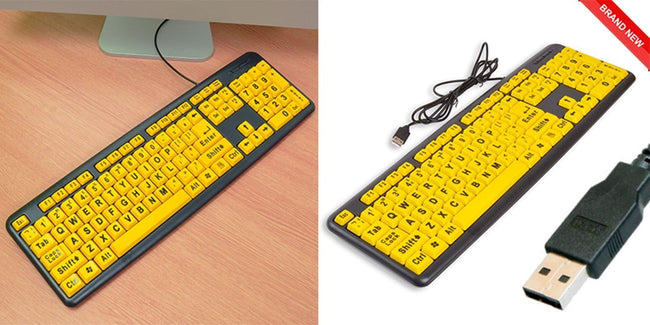 PC Laptop Large Print USB Wired Keyboard UK Spec High Contrast Numeric Keypad