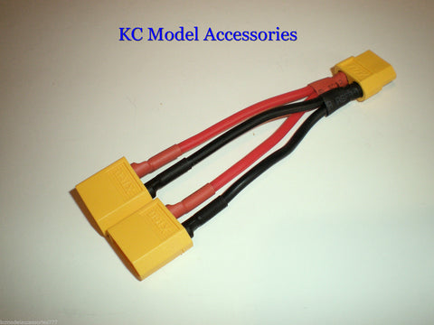 XT60 Y Harness For 2 Lipo Batteries In Parallel 1x Male To 2x Female Plug RC Car