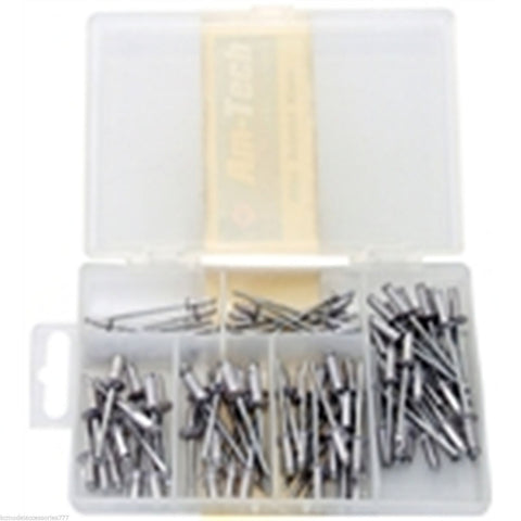 100pc Blind River Set Assorted Hand Pop Rivet Aluminium Head Steel Shank 6 Sizes