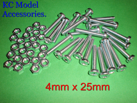 4mm x 25mm Screws and Nuts x 29pcs