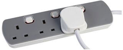 3 Way Gang 2 Metre Extension Lead With Individual Switch 13A Plug Sockets
